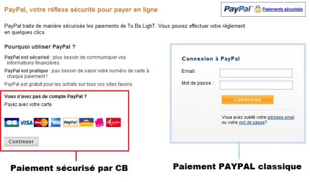 Paiement securisé par CB via Paypal