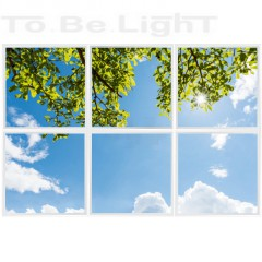 Pack 6 x Dalles LED OASIS 60x60 # Green Leaves Sun Sky