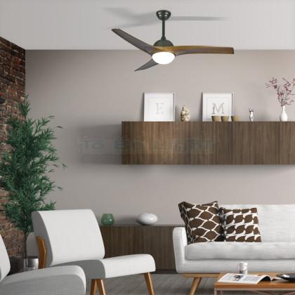Ventilateur de Plafond LED Mistral CCT Sélectionnable 65W Marron