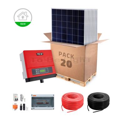 Pack 5000 W Panneaux Solaire Photovoltaïque + Branchement Réseau Mono / Tri